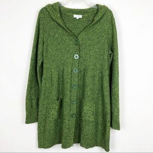Fashion Bug | Hooded Green Button Down Cardigan